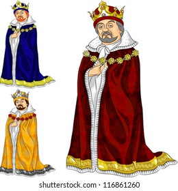 vector set of funny fairytale cartoon king in ceremonial robes and crown in three colors