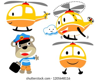 vector set of funny helicopter cartoon with little pilot