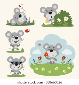 Vector set funny mouse in different poses on summer meadow with flowers.