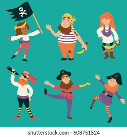 vector set of funny pirates characters, both male and female