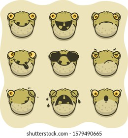 Vector set of funny toad emoticons: smiling, laughing, sad, tongue, cool, perplex, wink, crying, surprised.