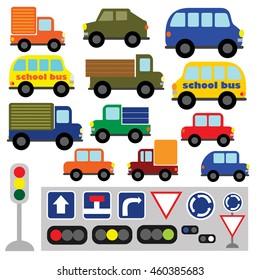 Conjunto de vectores de transporte divertido. Vehículos multicolores, camiones, autobuses, señales de tráfico, semáforo, semáforo, semáforo