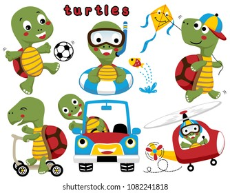 Vector set of funny turtles or tortoise activities