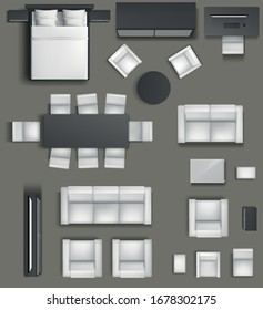 Vector set. Furniture for the bedroom, living room, kitchen, office, bathroom. Top view. Double bed, computer desk, sofa, wardrobe, chair. View from above.