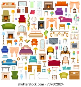 Vector set of furniture in flat style isolated on white background. A collection of furniture icons.