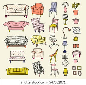 Vector set of the furniture of living room. Hand-drawn style