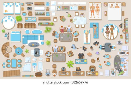 Furniture And The People In The Interior. Top View. People In