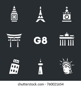 Vector Set of G8 countries symbols Icons.