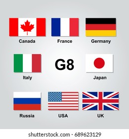 Vector set of G8 flags.