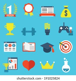 Vector set of gamification icons for design - vector icons
