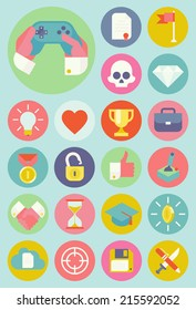 Vector set of gamification strategy in business icons    Flat design icons collection of gamification and modern trends in business, social media and industry