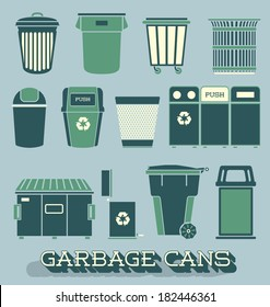 Vector Set: Garbage and Recycling Cans