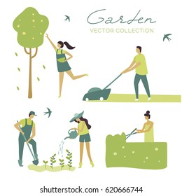 Vector set, garden, ecology, organic, planting, botanica, green plants, watering a plant, shearing a bush, shears a lawn, grows trees, harvesting. Cartoon. Cute. Character. Creative people collection