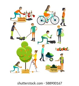 Vector set of garden people characters isolated on white background. Gardening concept design elements, icons in flat style.