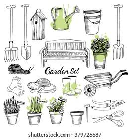 Vector set of gardening