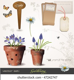 vector set: gardening - build your own small garden with potted plants :)