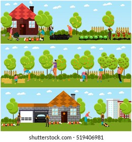 Vector set of gardening, harvesting and landscaping concept banners in flat style. People picking fruit and vegetables, trimming lawn and bush, caring for flowers using garden tools.
