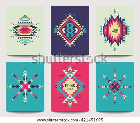 vector set geometric abstract colorful flyers stock vector royalty