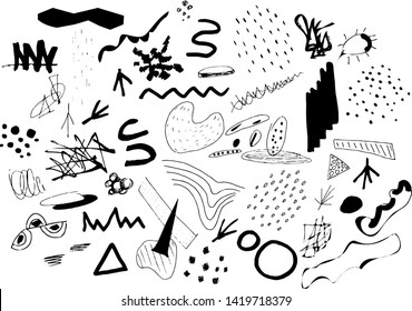 Vector set of geometric abstract designer doodle elements
