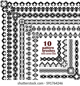 Vector set of geometric black borders in ethnic boho style. Collection of pattern brushes with corner tiles inside. Aztec tribal ornaments