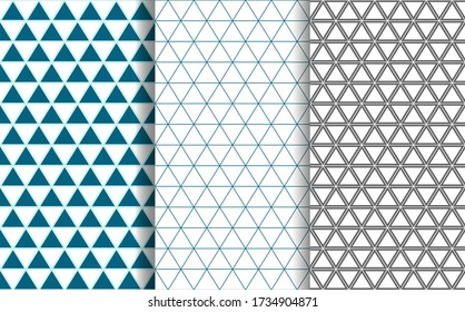 Vector set of geometric checkered seamless backgrounds of triangles, lines, patterns.