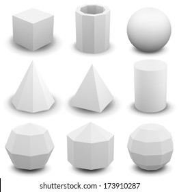 Vector set of geometric shapes isolated on white.