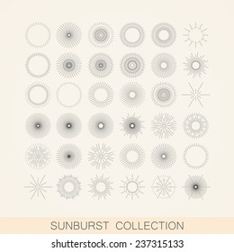 vector set of geometric sunburst and light ray shapes. design element collection