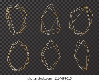 Vector set with geometrical polyhedron, art deco style for wedding invitation, luxury templates, decorative patterns. Modern abstract elements, vector illustration. Isolated on black backgrounds.