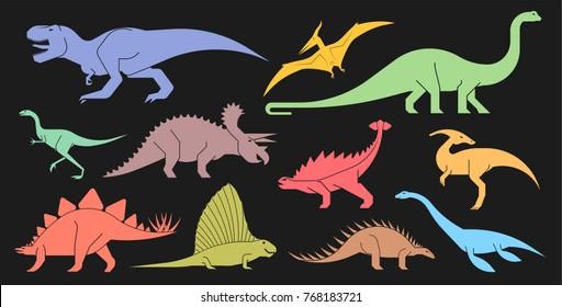 Vector set of geometrically stylized dinosaur icons. Different types of prehistoric dinosaur icons: trex, tyrannosaurus, triceratops,  brontosaurus, diplodocus, pterodactyl.