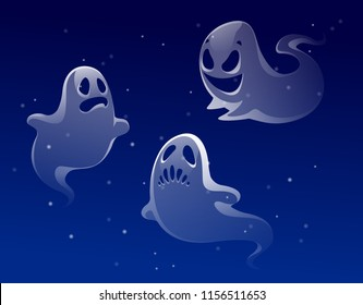 vector set of ghost apparition spook horror a friend ghost funny starry sky