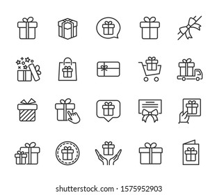 Vector set of gift line icons. Contains icons of box, bow, surprise, certificate, gift card and more. Pixel perfect, scalable 24, 48, 96 pixels.