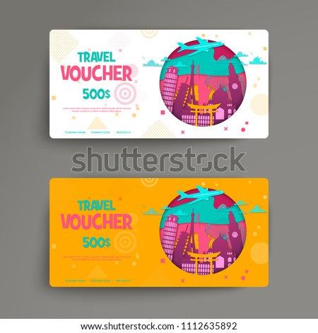 Vector Set Gift Travel Voucher Template Stock Vector Royalty Free