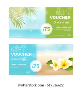 Vector set of gift vouchers with beach, sea, palm leaves, tropical flowers. Summer template with plumeria and blurred effect for travel certificate, coupon and gift card. File contains clipping mask.