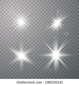 Vector set of glare lighting, twinkle lens flares. glowing lights effect, flare, explosion and stars. Special effect isolated on transparent background. Vector illustration eps 10.
