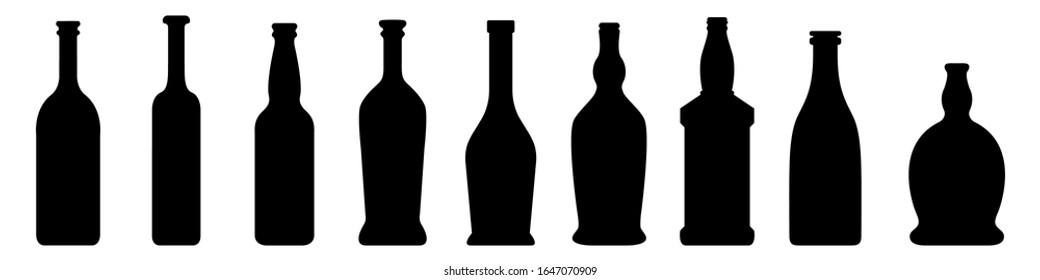 Vector Set of Glass Bottle Silhouette on White Background