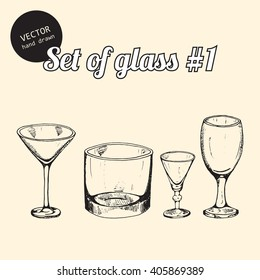 Vector set of glasses for bars, parties. Hand drawn sketch art style.