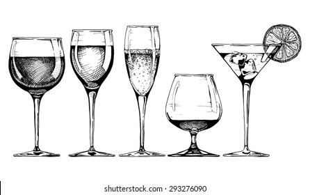 Vector set of glasses goblets in ink hand drawn style. isolated on white.