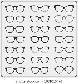 Vector set of glasses silhouette.