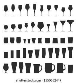 Vector set of glassware silhouettes. Fully editable 50 glasses for wine, beer, whisky, cognac, cocktales and other alcohol drinks collection isolated. Different types of stemwares, beakers and mugs.