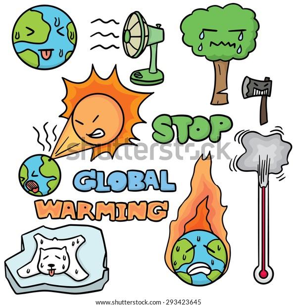 Vector Set Global Warming Stock Vector Royalty Free 293423645