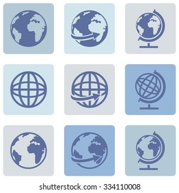 Vector Set of Globe Icons