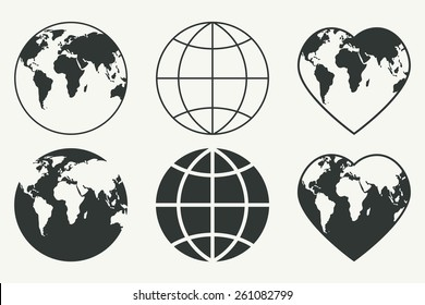 Vector set of Globes. Earth icons. EPS 8