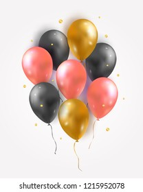 Vector set of glossy air 3d flying balloons and confetti. Party decoration for birthday, anniversary, celebration, event design.