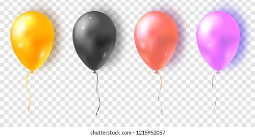 Vector set of glossy colorful balloons. Realistic air 3d balloons isolated on transparent background.