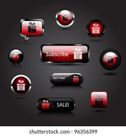 Vector set of glossy red gift box buttons