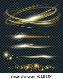 Vector set of glow lightning flare and circle light effect with sparkles isolated on black background. For illustration template art design. Transparent light effects