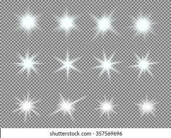 Vector set of glowing light bursts with sparkles on transparent background. Transparent gradient stars, lightning flare. Magic, bright, natural effects.