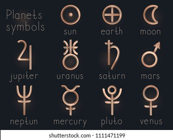 Vector set of Gold astrological planets symbols. Signs collection: sun, earth, moon, saturn, uranus, neptune, jupiter, venus, mars, pluto, mercury.