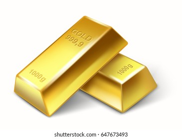 vector set of gold bars isolated on white