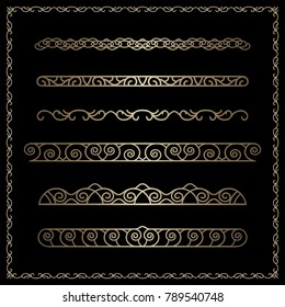 Vector set of gold border vignettes, dividers, vintage flourish ornaments and golden square frame on black